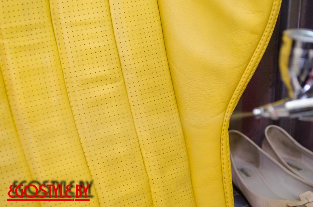 Покраска желтого салона авто